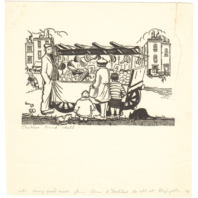 Dallas, Ann Chasar: Expressionism: Chelsea Fruit Stall. Original woodengraving (1933)