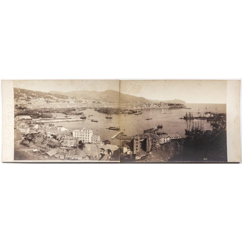 Noack: Die Stadt und der Hafen von Genua. Panorama Fotografie in zwei Teiilen (ca. 1885)