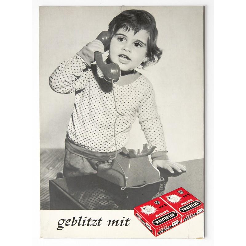 Werbeaufsteller für PHILIPS PHOTOFLUX BLITZLICHTBIRNEN (1960er Jahre)