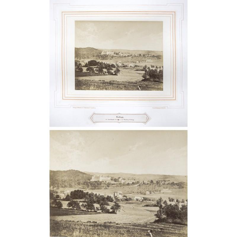 MENCKE: Schloss Wolfegg mit dem Ort aus der Ferne gesehen. Orignal-Fotografie (vor 1870).