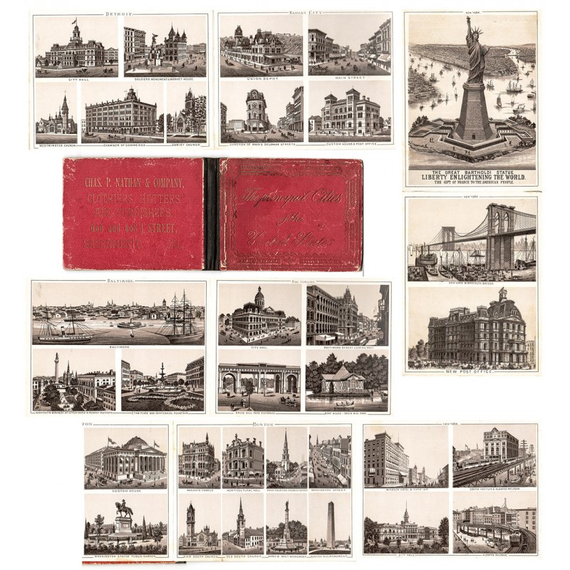 THE PRICIPAL CITIES OF THE UNITEDE STATES: Leporello-Album mit 82 Ansichten (ca. 1890)