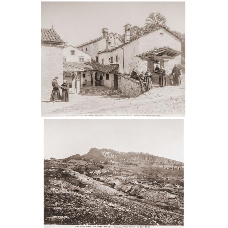Alinari: CASTENIO. Verna. Piazzale detto del Quadrante con la Chiesa degli Angeli. Original Fotografie (ca. 1890).