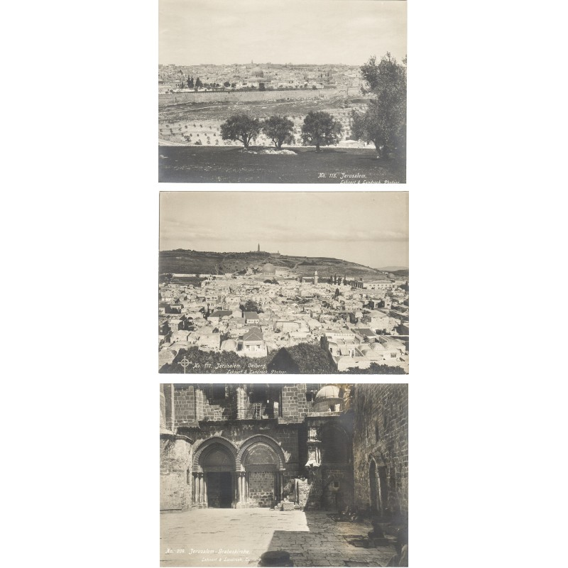LEHNERT & LANDROCK: JERUSALEM.  3 original photographs (1910th)