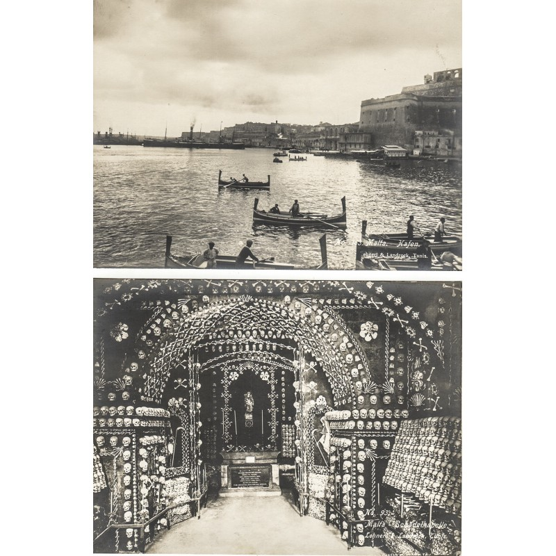 LEHNERT & LANDROCK: MALTA: Hafen / Schädelkapelle. 2 Original Fotografien (ca. 1910)