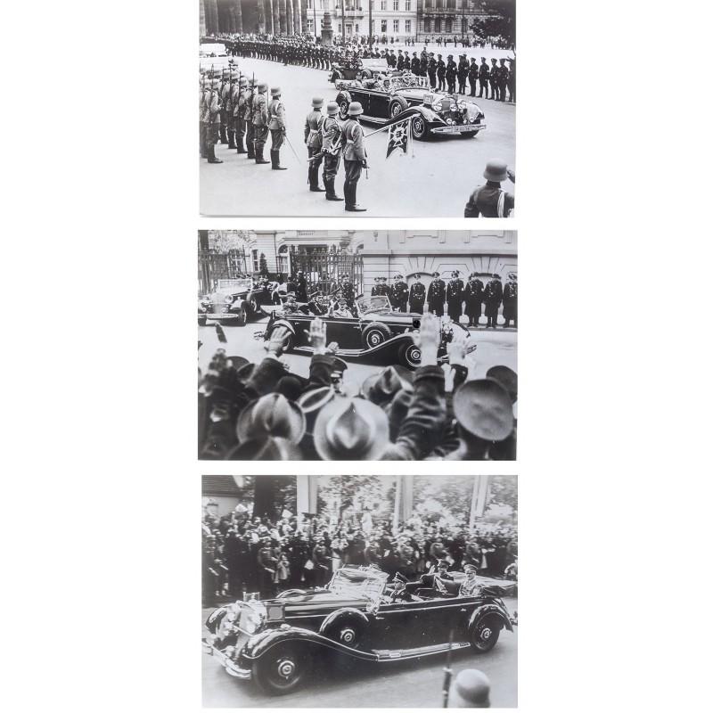 """Adolf Hitler im """"Parade Mercedes"""" 770K / W150 1937 / 1938 / 1939. Drei Original Fotos (Abzüge 1970er)"""