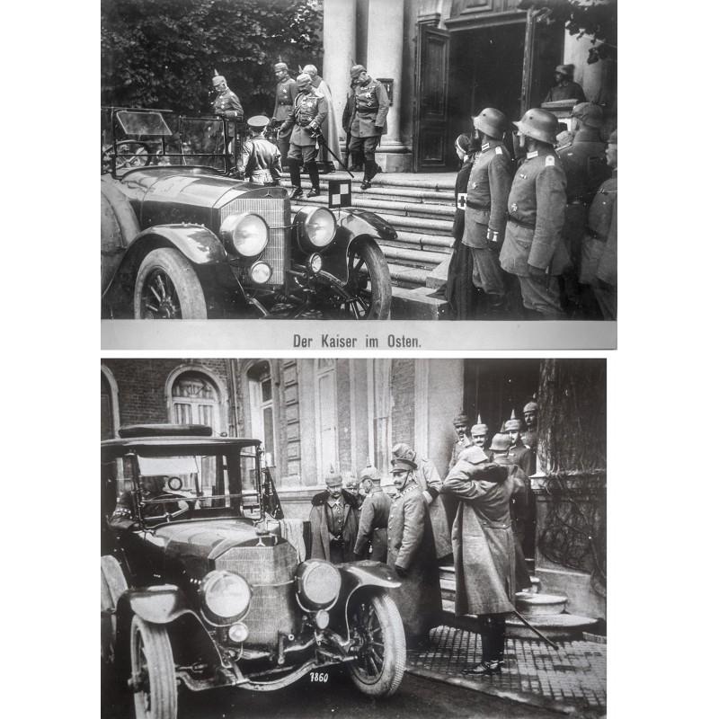Kaiser Wilhelm II an den Fronten des 1. Weltkriegs. Zwei Original Fotografien (1916 - 1917 - Abzüge aus den 1970er Jahren)