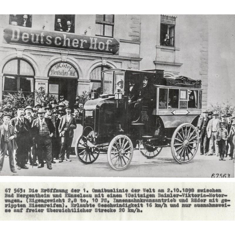 Die erste Omnibuslinie der Welt. Original Fotografie (1898 - Abzug 1961)