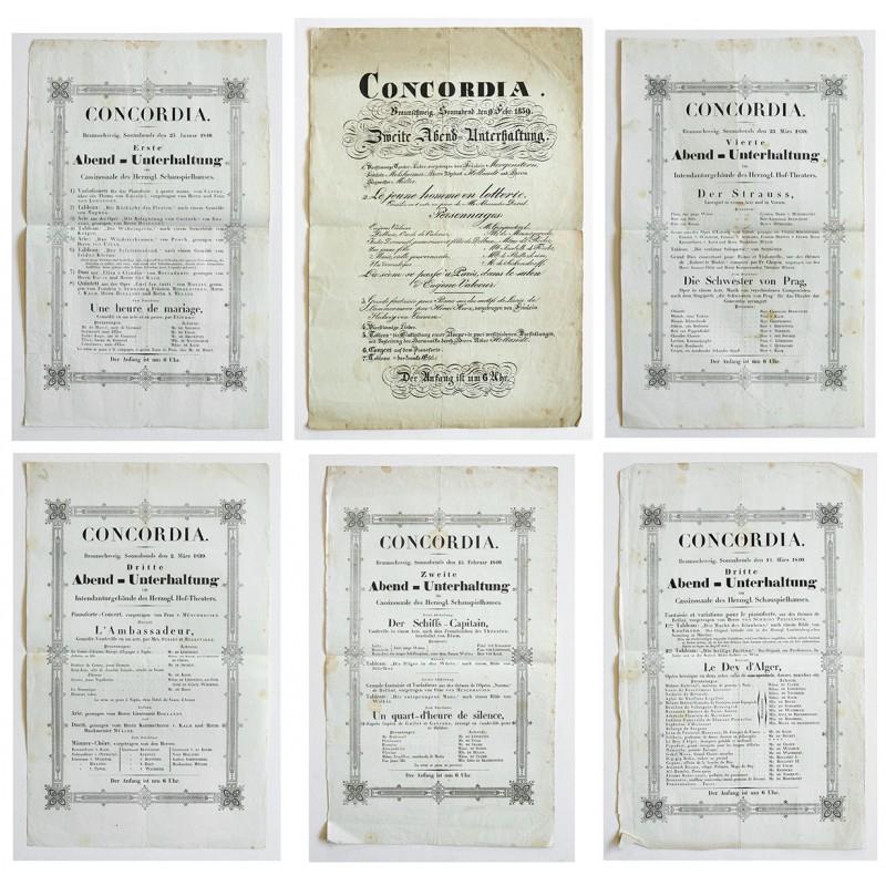 Sechs Original Musik-Programm Aushänge von 1839 - 1840
