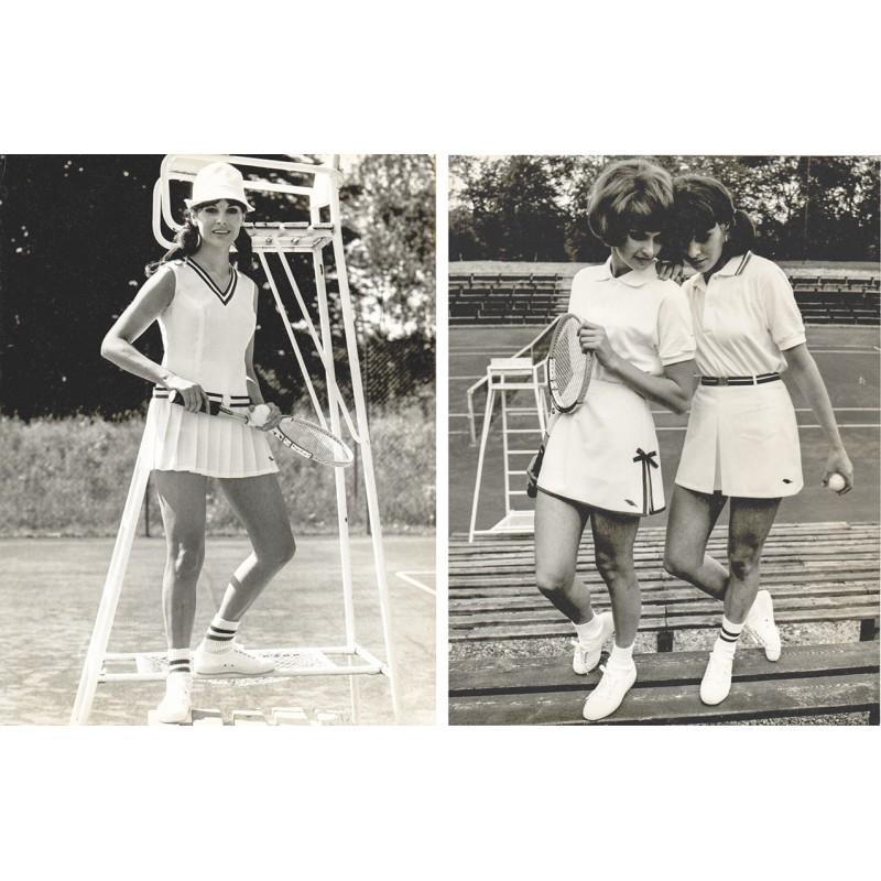 Tennis Mode der 1970er Jahre der Münchener Sportbekleidungsfabrik. Original Fotografie