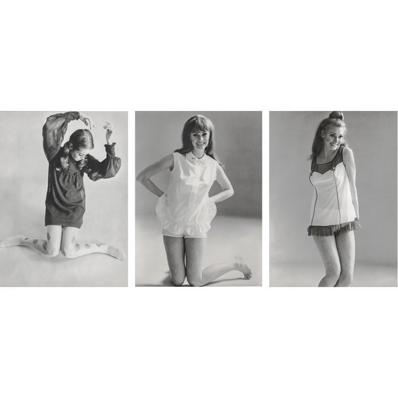 Die Damen-Unterwäsche Mode Ende der 1960er Jahre: Schiesser und ARWA Mode: Drei Original Mode-Fotografien. Vintage prints