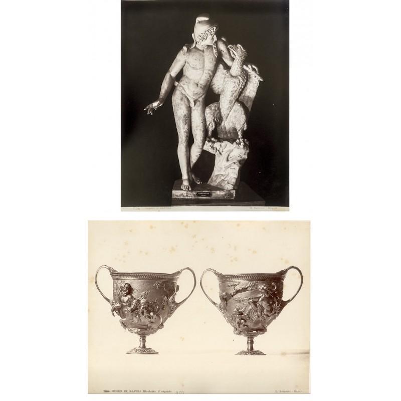 SOMMER: Museo di Napoli: Statue des Ganymed / Becher aus Silber). Zwei Albumin Abzüge (ca. 1885).
