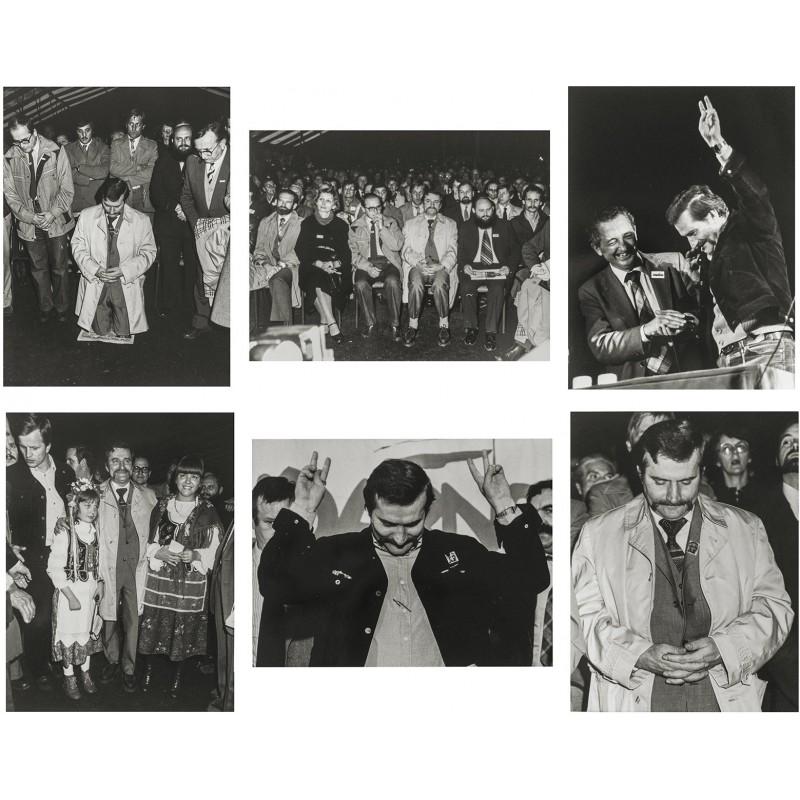 Lech Walesa auf Besuch in Frankreich vom 14. - 21.10.1981. Sechs Original Fotografien (1981)