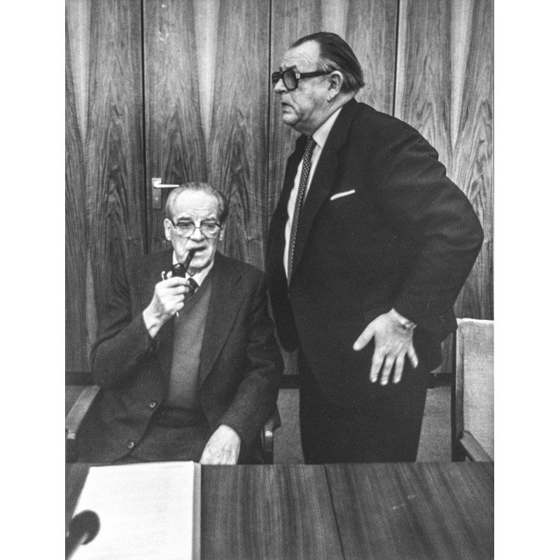SPD ratlos: Wischnewski und Wehner. Original Fotografie (1982)