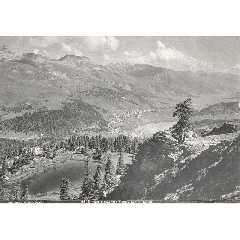 Engadin - Der Hahnensee und der Blick aif Sankt Moritz. Original Fotografie (ca. 1900)