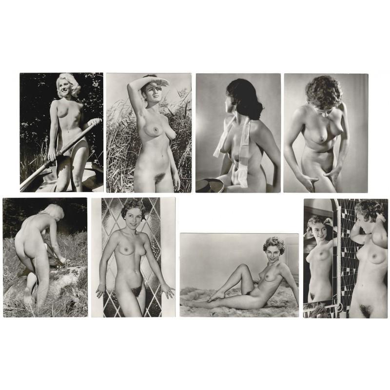 Anonymer Fotograf: Acht Akt-Fotografien. Silbergelatine-Abzüge (1960er Jahre?)