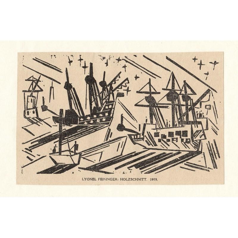 Lyonel FEININGER: Ships at Harbour. Woodcut printed from original block (1919)