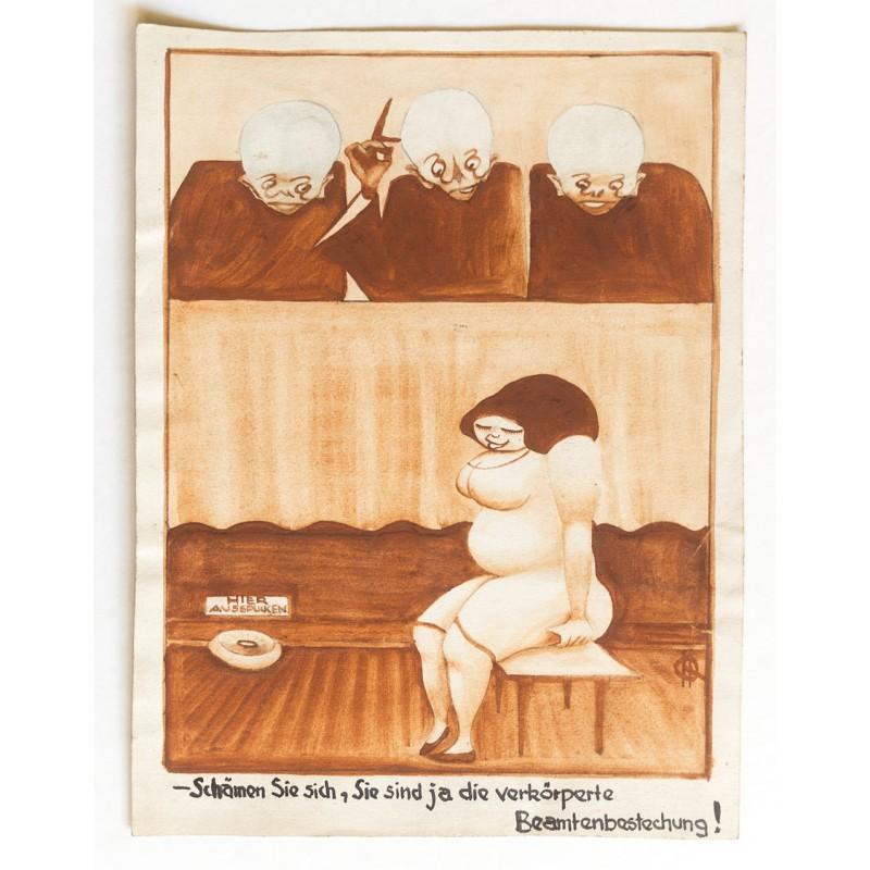 Erotische Karikatur - Original Aquarell: Quedenfeldt, Hedda: Schämen Sie sich .. (1920er Jahre)