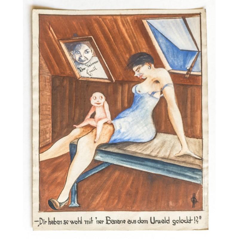 Erotische Karikatur - Original Aquarell: Quedenfeldt, Hedda: .. mit 'ner Banane aus dem Urwald .. (1920er Jahre)