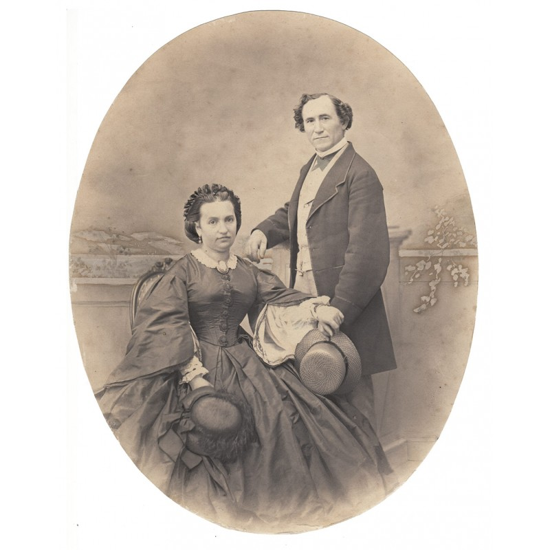 Salzpapier-Abzug eines Paares (1850er / 1860er Jahre)
