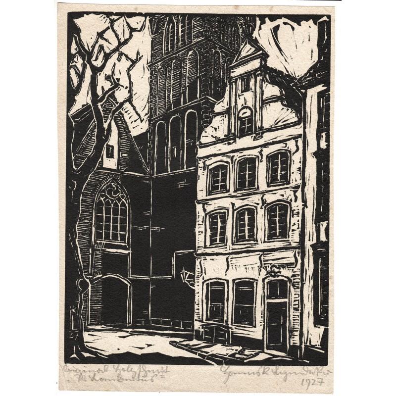 Düsseldorf. Türe von Sankt Lambertus. Original Holzschnitt (1927).