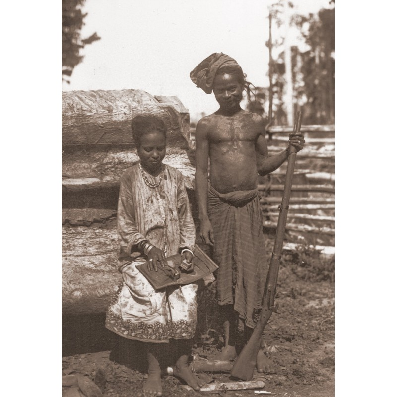 Dr. Georg Krause: Expedition to Bali: Nativs with shotgun.Original photography (1920th printed 1950th)