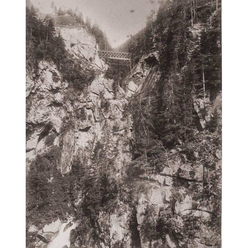 Adolphe BRAUN: Obere MAYENREUSSBRÜCKE der Gotthardbahn (ca. 1882). Original-Fotografie