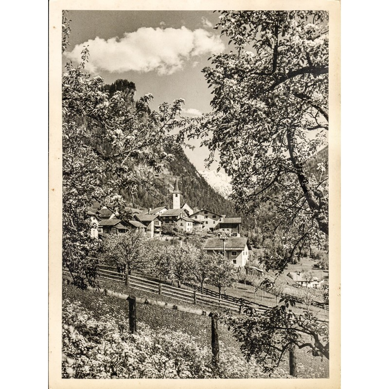 Emil MEERKÄMPER: Frühlingslandschaft in Graubünden. Original-Fotografie (1930er Jahre)
