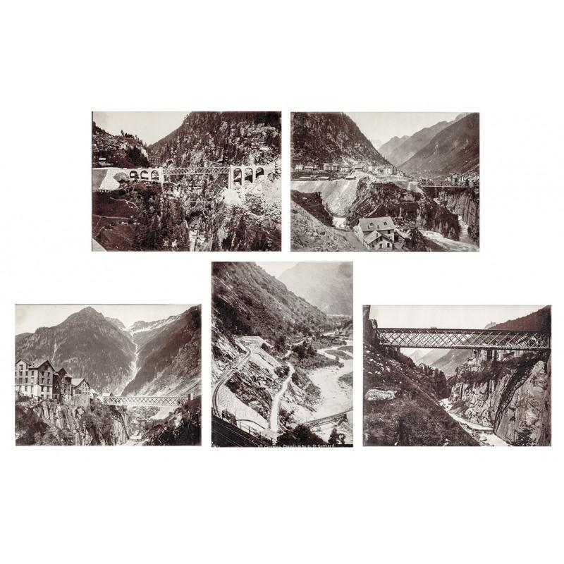 Fünf Original Fotografien von der soeben fertiggestellten Gotthardbahnstrecke.Albumin-Abzüge (ca. 1882)