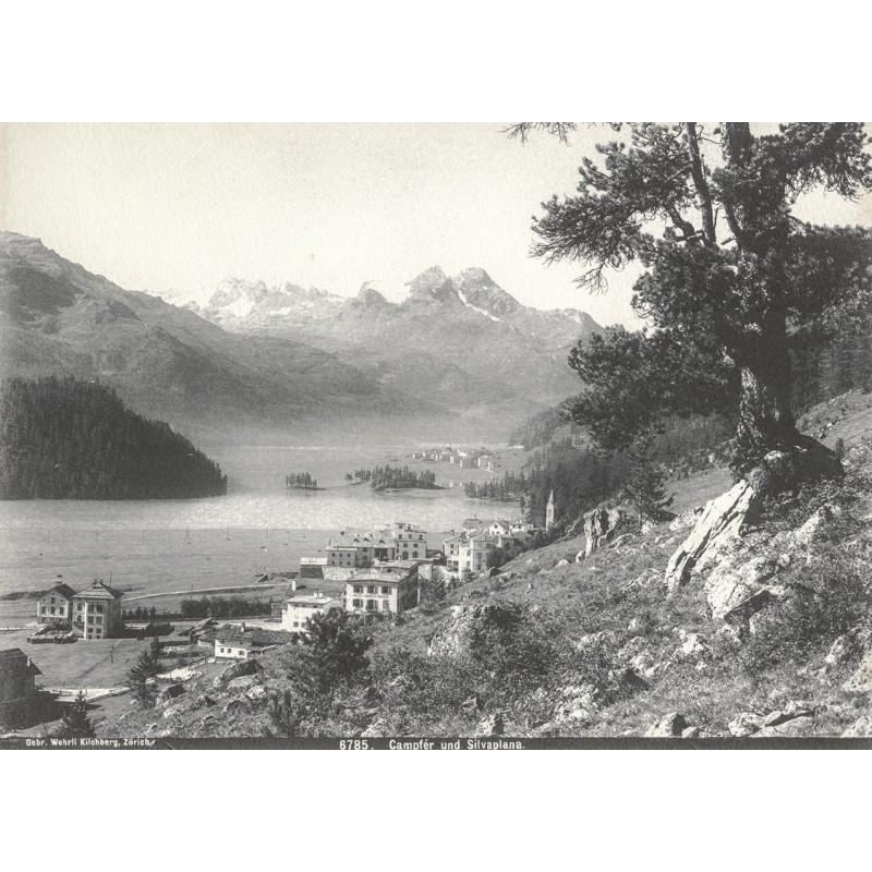 Wehrli AG, Kilchberg: Engadin - Ansicht von CAMPFÉR und SILVAPLANA. Original Fotografie (ca. 1900)