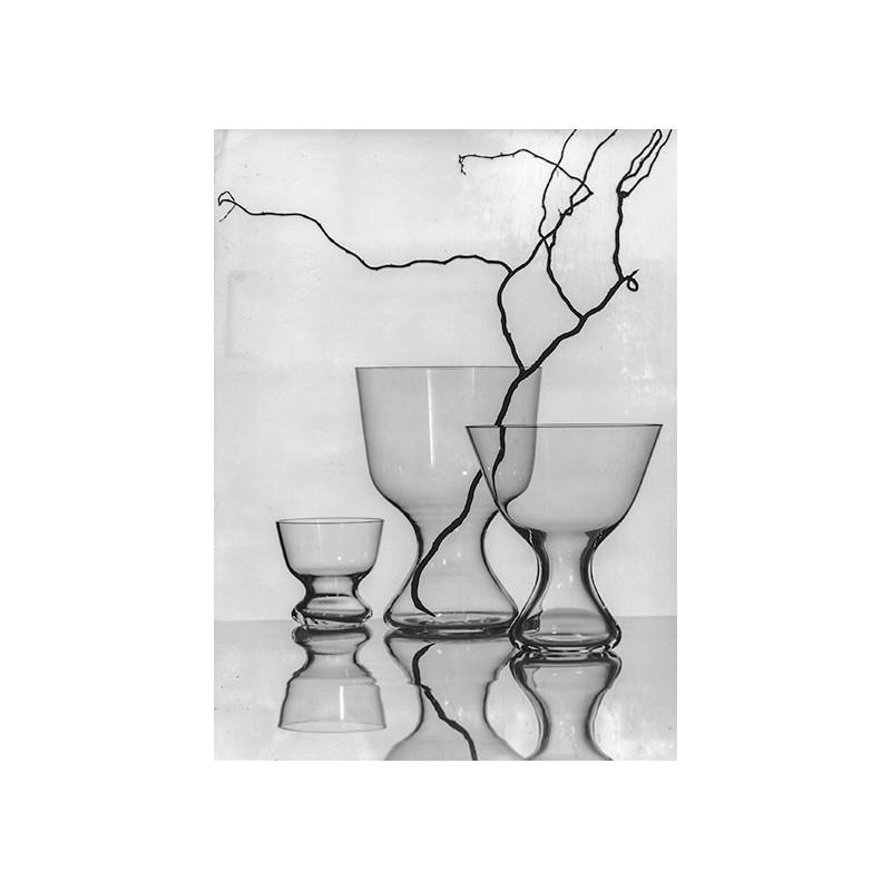 Glas Entwürfe von Professor Wilhelm WAGENFELD. Original-Fotografie (1950er / 1960er)