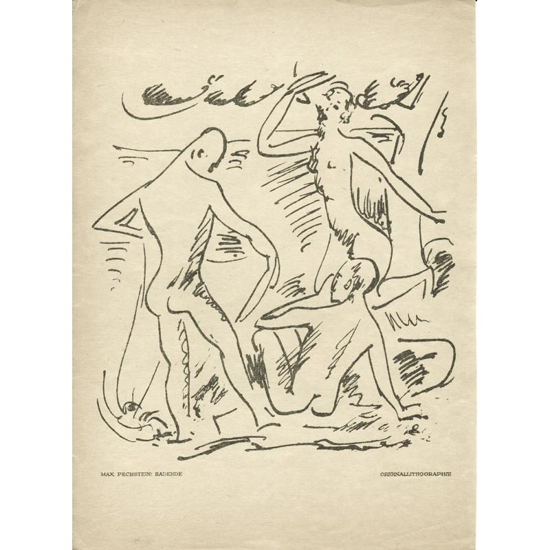 Deutscher Expressionismus - Pechstein, Max: Badende. Original Lithographie (1918)