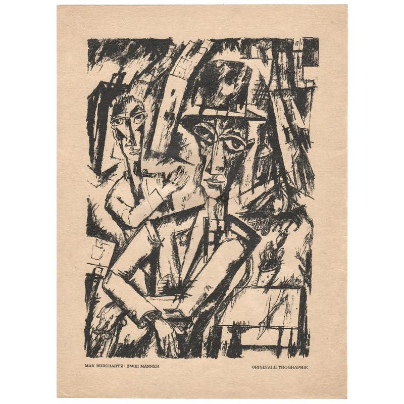 Deutscher Expressionismus - BURCHARTZ, Max: Zwei Männer. Original Lithographie (1919)