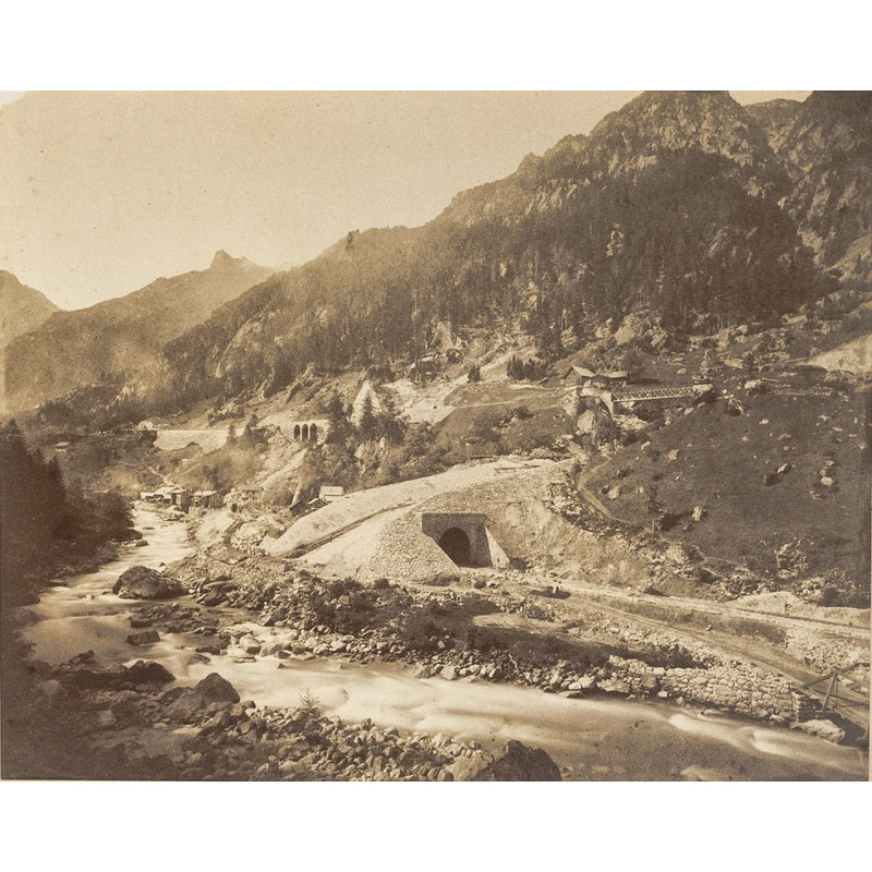 Adolphe BRAUN: Gotthardbahn: Haggrigerbach-Gallerie. Original-Fotog (ca. 1883)