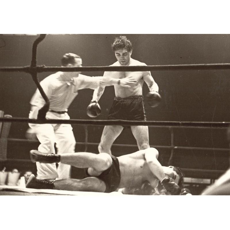 Joseph Schorer: Max SCHMELING beats opponent ko.Original photo (1920-30th - printed 1950th)