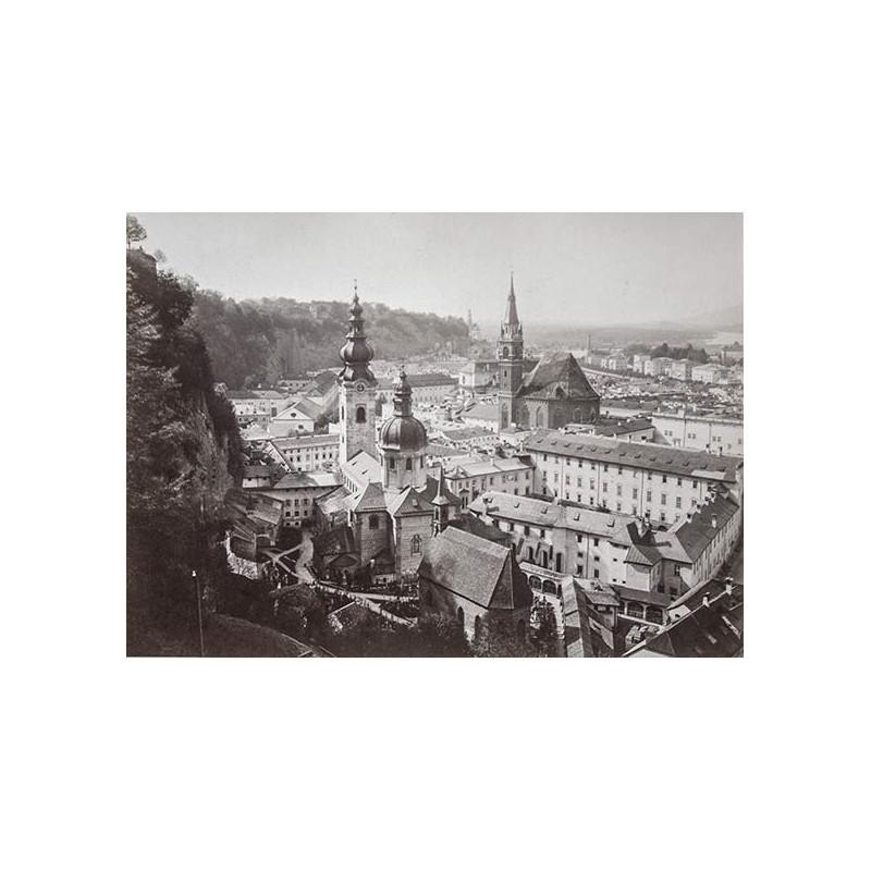 Salzkammergut um 1885 - Würthle und Spinnhirn: Salzburg vom Festungsweg aus. Original Fotografie