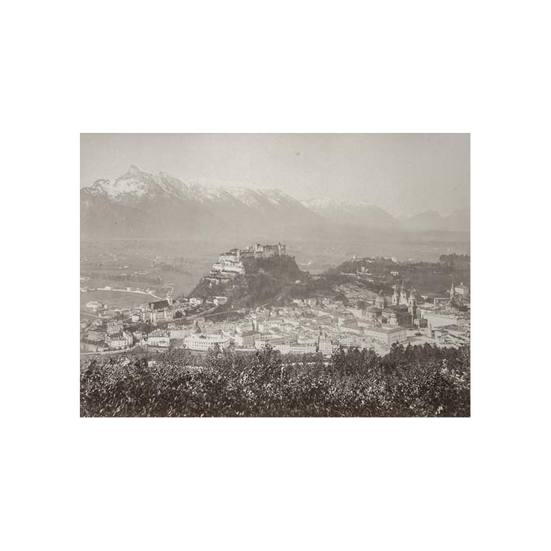 Salzkammergut - Würthle und Spinnhirn: Salzburg vom Kapuzinerberg aus. Original Fotografie (ca. 1885).