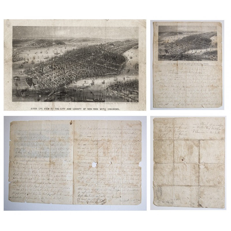 New York, birds eye view. Steel engraving on letter (1855)