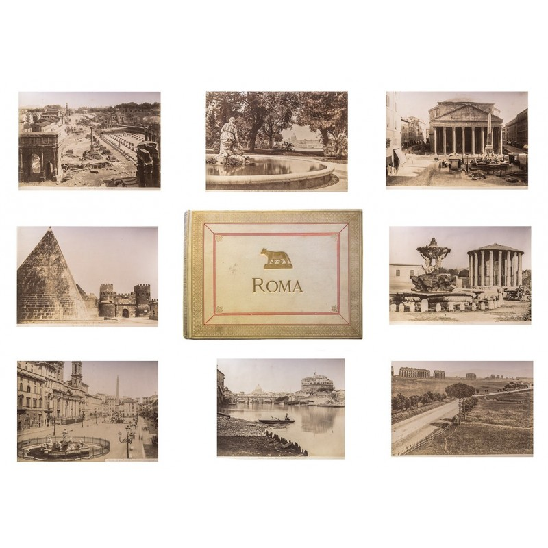 "Album ""Roma"" with 48 original photographs, all albumen prints (approx. 1885 - 1885)."