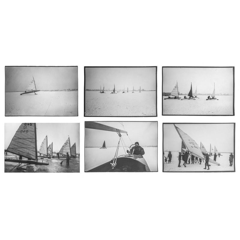Fotos vom Eissegelsport - HEGGEMANN, Dieter u.a.: Eissegeln. 6 grossformatige Original Fotografien.