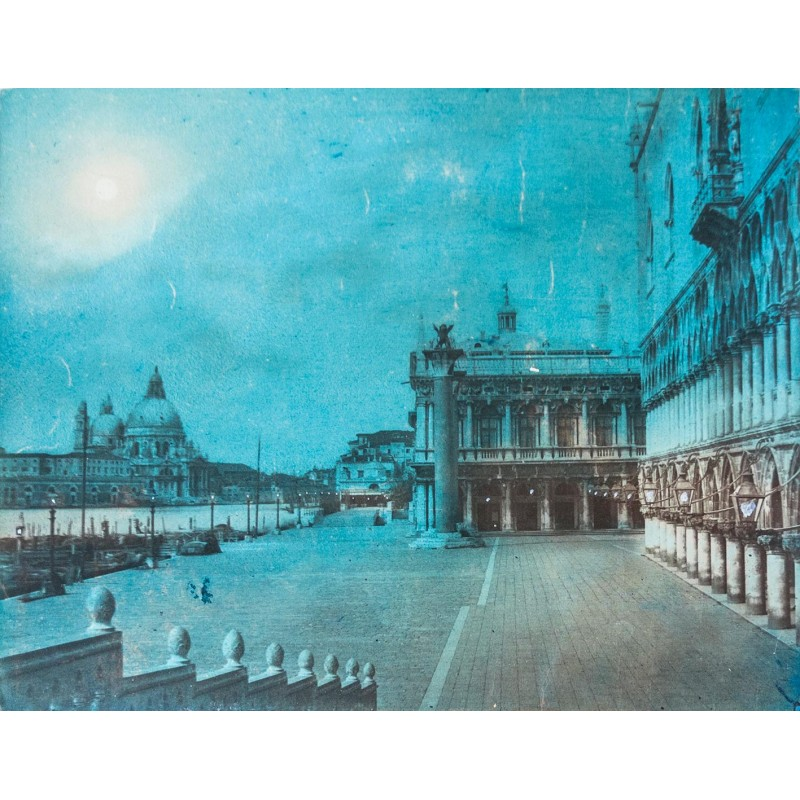 Moonlight on Markus's Place Marku in Venice. Coloured albumen print (approx. 1885).