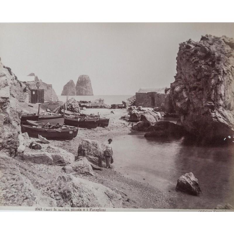 Capri - Editione Esposito: Capri la marina piccolo e I Faraglioni. Original photography. Albumen print (approx. 1885).